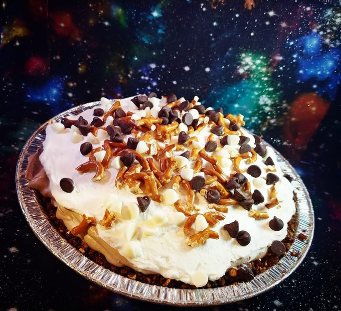 Hot Mess Pie, French silk with white and dark chocolate on a pretzel crust!