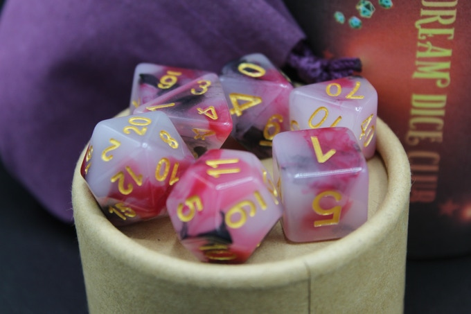Solid and Multi-colored dice in various color combinations and styles.
