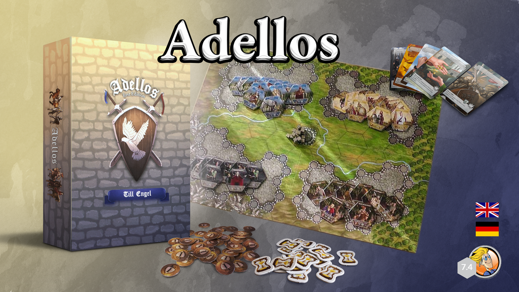 Adellos - First Edition, Tactical Board Game for 2-4 Players
