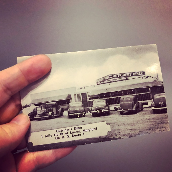 Original 1940s postcard from Outriders' Diner. For a $100 pledge, you'll receive this postcard plus TWO signed copies of the book.