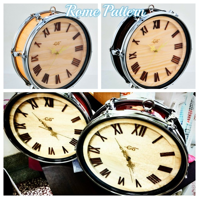 Our hand craft drum shape clock - Rome Pattern