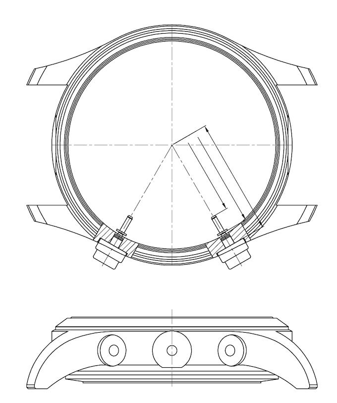 Draufsicht spezieller Fliegeruhr-Gehäusekörper