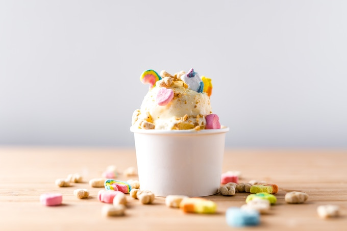 Lucky Charms Ice Cream with Lucky Mallows.