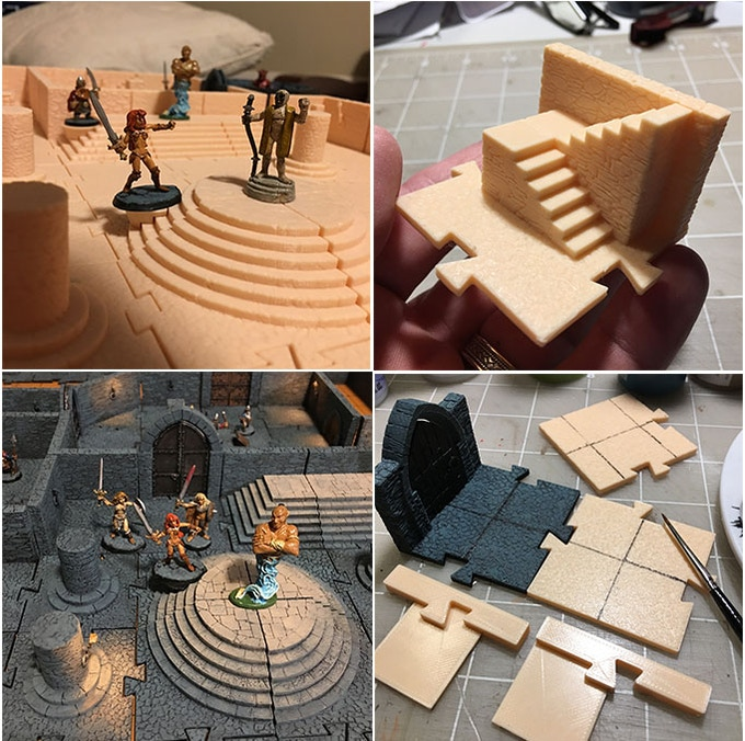 """Bonus files: stair jack.stl--for placing minis on steps! a grid-painting jig  (for gamers who prefer a 1"""" grid on the tiles)"""