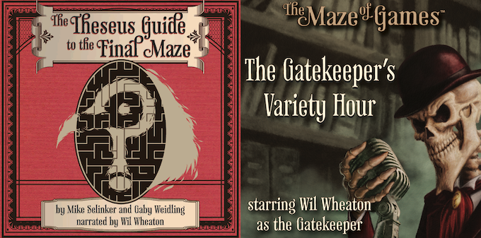 Covers for The Theseus Guide to the Final Maze audiobook and The Gatekeeper's Variety Hour. Art and graphics by Pete Venters and Elisa Teague.