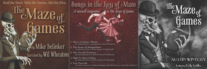 The covers for the Maze of Games Audiobook, Songs in the Key of Maze, and the Maze of Games Soundtrack. Art by Pete Venters, graphic design by Elisa Teague.