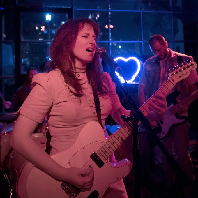 Helaine and the Hurricanes at The Love Song Bar in Downtown LA. Like our melting heart neon sign?