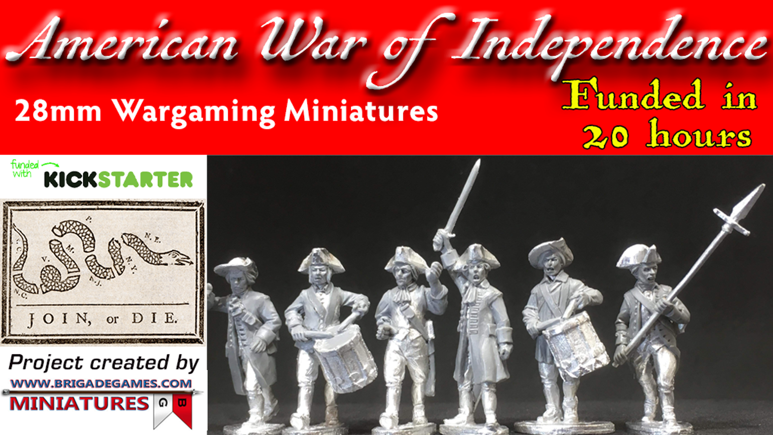 To help fund the start of a range of 28mm American War of Independence (Revolutionary War) miniatures sculpted by Paul Hicks.
