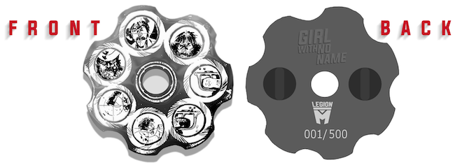 """""""Girl With No Name"""" Limited Edition Revolver Pin (mockup)"""