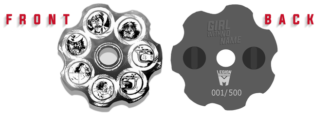 """Girl With No Name"" Limited Edition Revolver Pin (mockup)"
