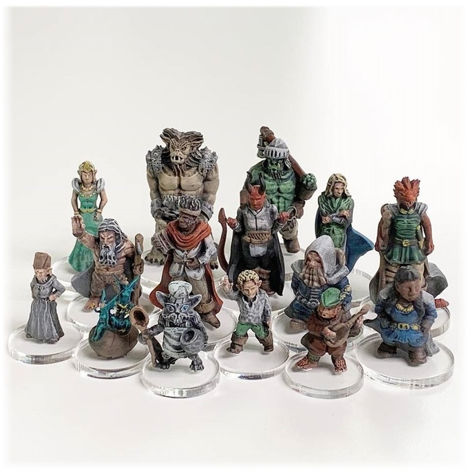 The miniatures from the core rewards printed in resin.