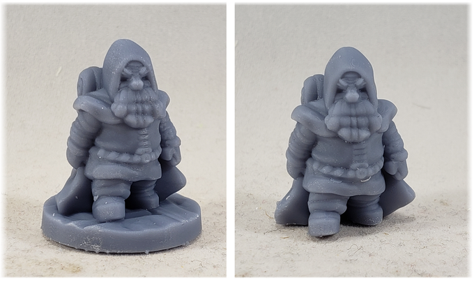 Dwarf Traveler (on and off base) printed by Patreon supporter, Scott Frega