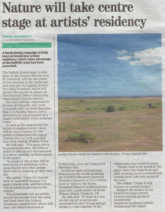 Press story about last year's project in The Lowestoft Journal newspaper
