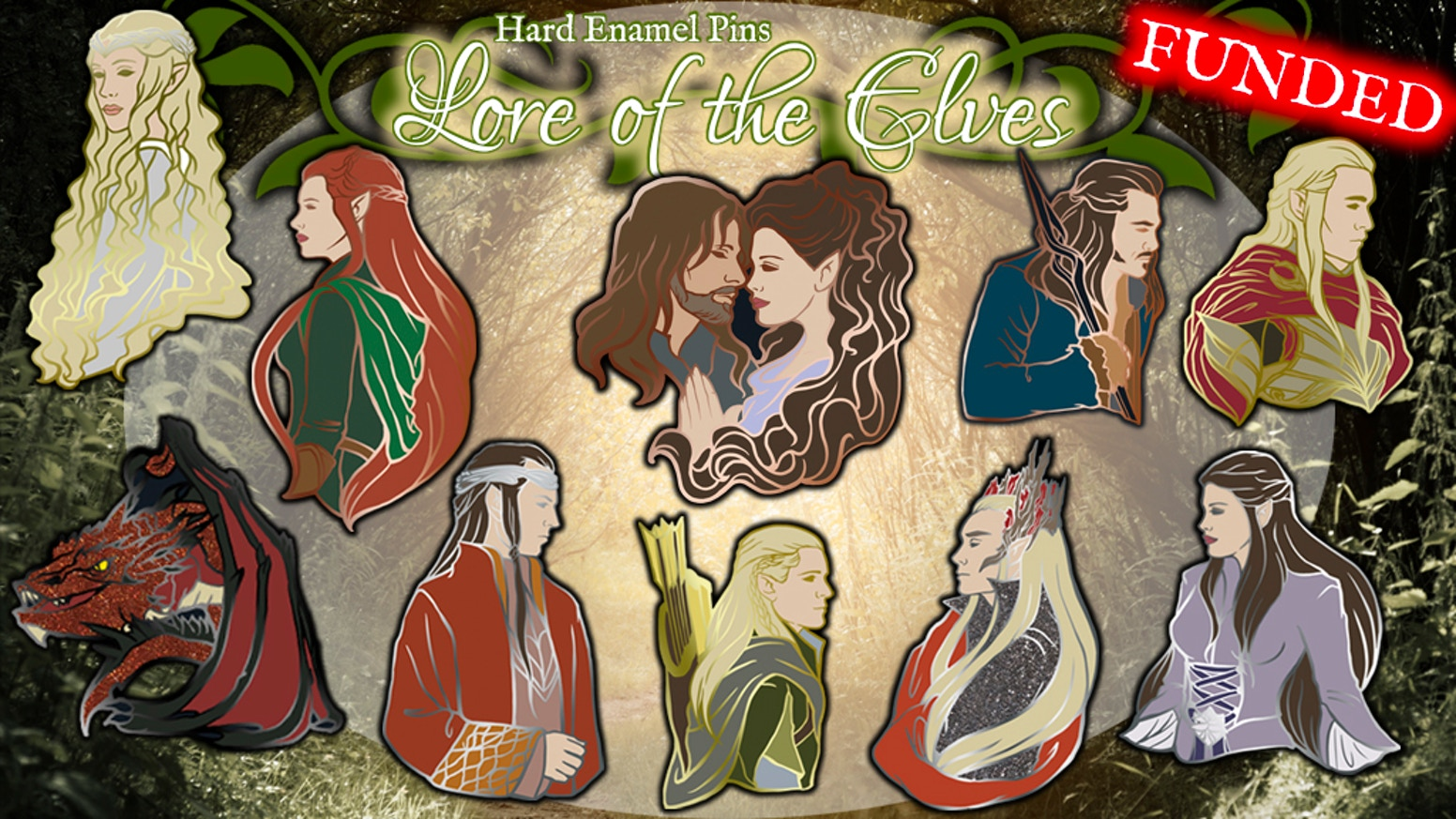 Elves of Middle Earth, Lord of the Rings & Hobbit inspired Large Hard Enamel Pins