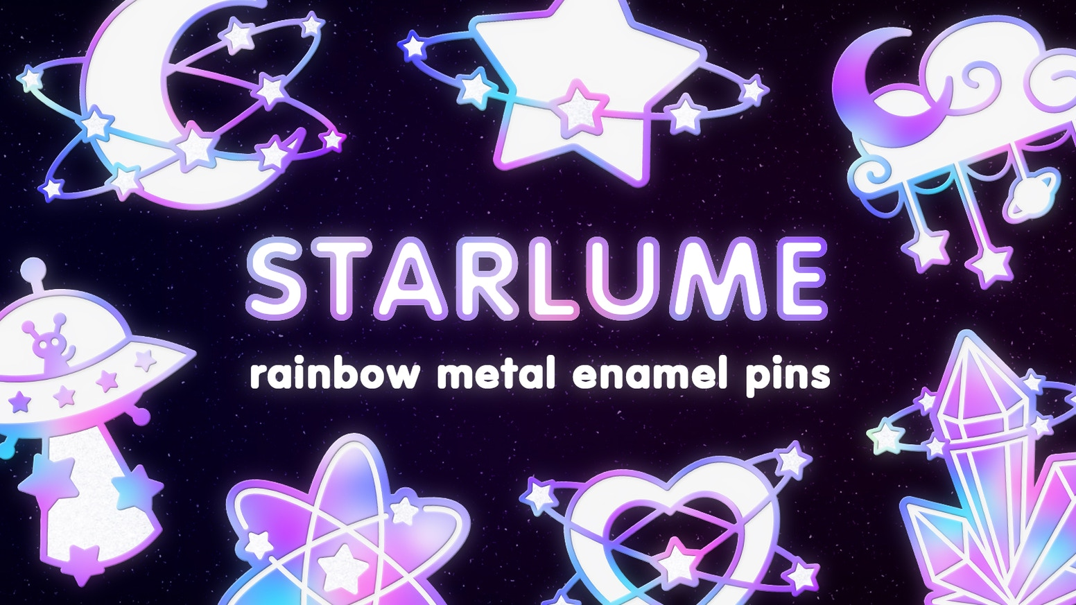 Soft enamel rainbow metal pins with a magic and space aesthetic~★!