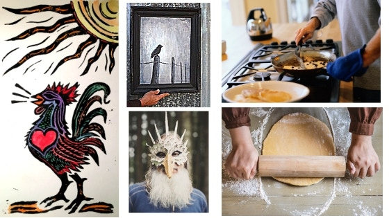 Rooster Block Print,  Raven Painting by Rob,  Paper Mache Mask, Home Made Dinner & Serenade for 4 ..