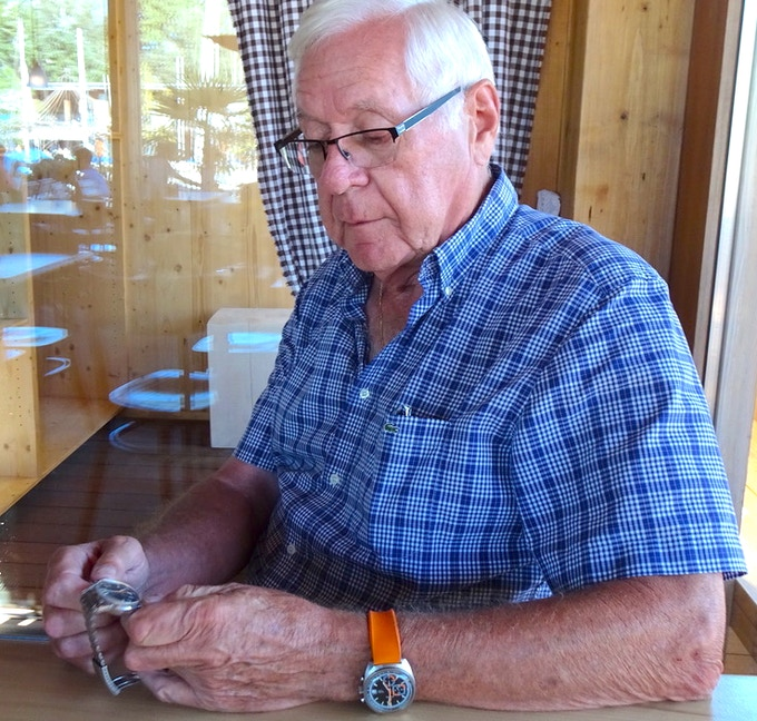 Mister Ariste Racine, September 2018, Biel. Note the Enicar Graphomatic on his wrist