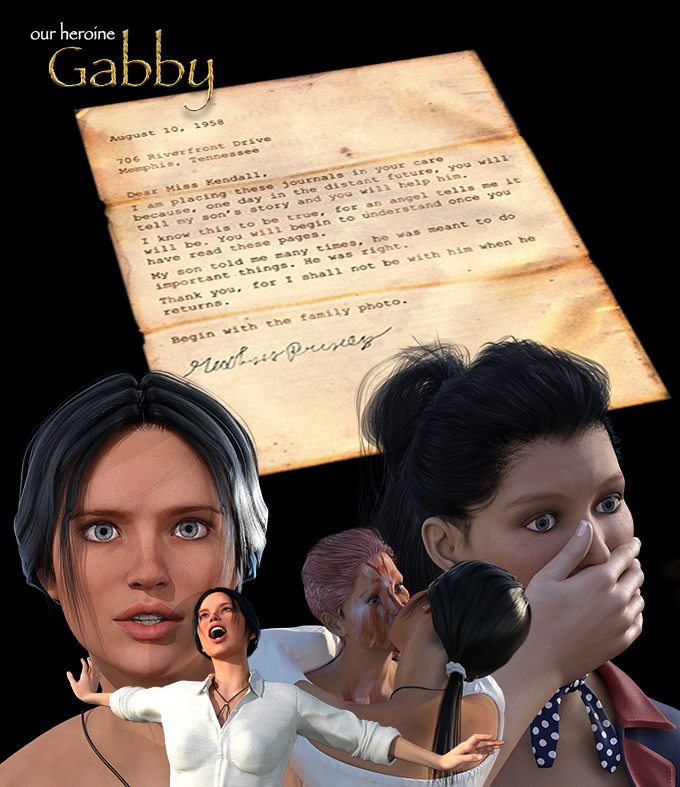 "Compilation of Gabby responses in various scenes. The letter is from the chapter, ""The Angel's Gift""."