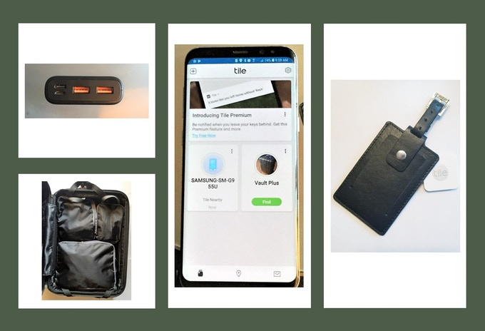 Compression packing cubes, Tile powered leather luggage tag, Usb C charging outlet
