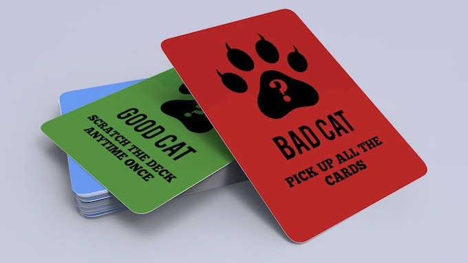 52x Good Cat Bad Cat Cards (Casino Quality, 330gsm Black Core Playing Card with Glossy Varnishing) Poker Size.