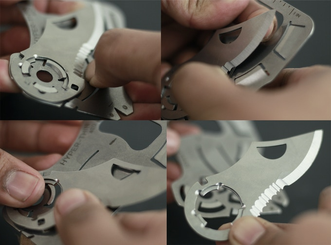 1. Press Unlock button | 2. Push blade up and rotate | 3. Keep rotating | 4. Blade is off.