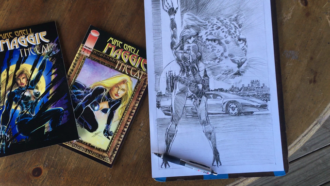 Mike Grell's pencils for the cover of Maggie The Cat book one!