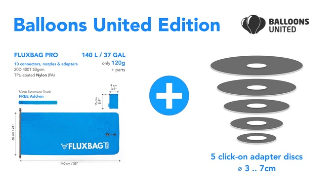 For the Balloons United Edition we added 5 click-on adapter disks to a fully-fledged FLUXBAG PRO