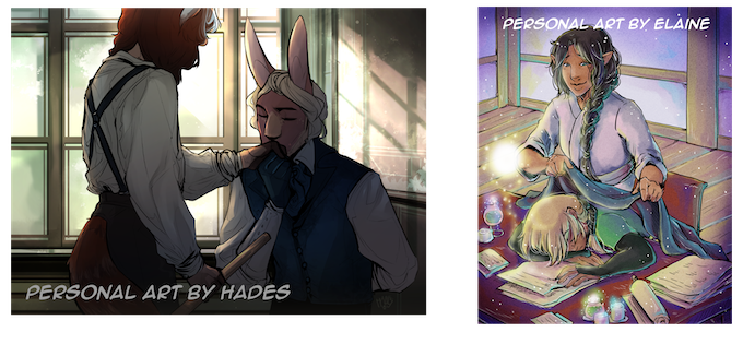 samples of personal work by Hades (L) and Elaine Tipping (R)