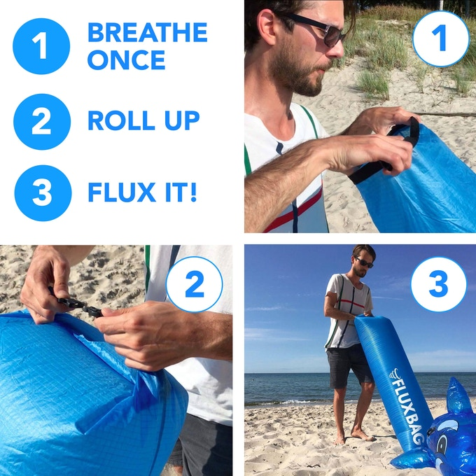 You simply blow into the FLUXBAG just once or twice - no wind or running necessary