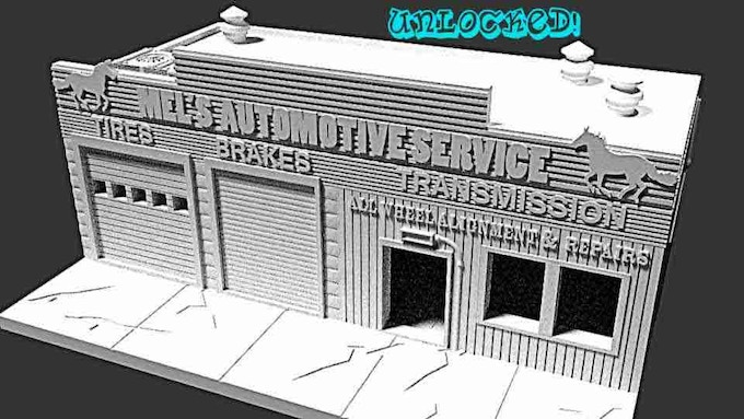 Mel's Service Garage - full interior and exterior detail as with all other buildings!