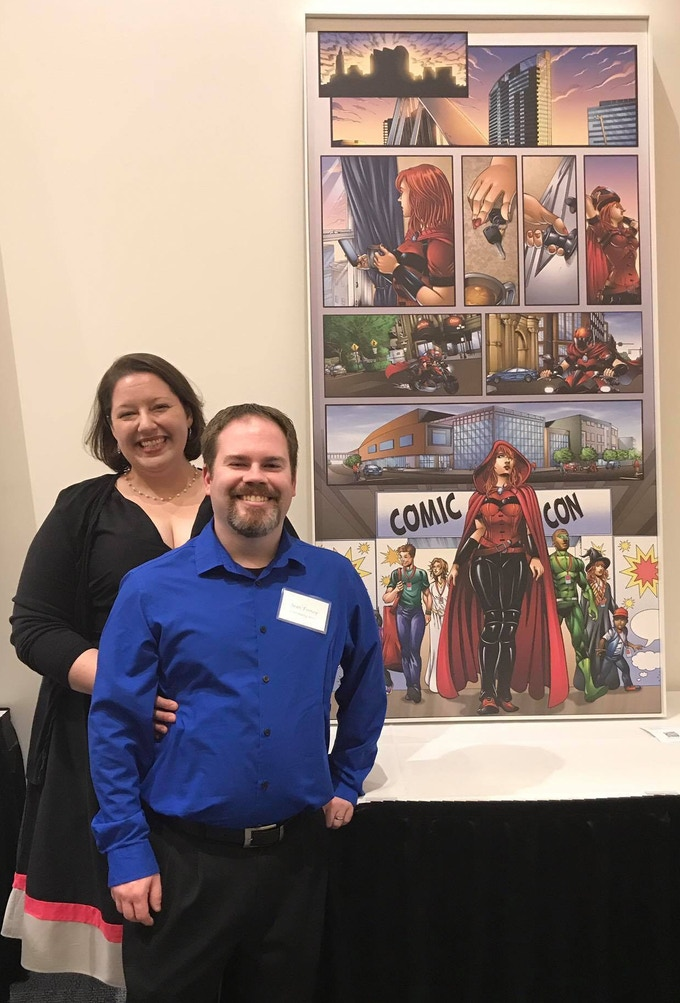 Stephanie & Sean at the opening of the Scarlet Goes to Comic-Con piece for the Greater Columbus Convention Center.
