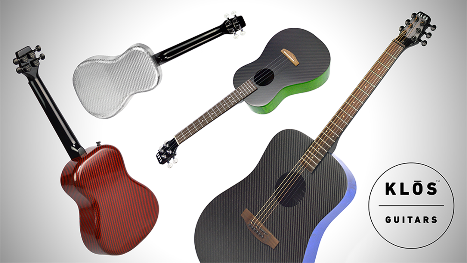 Carbon fiber ukuleles and full size dreadnought guitars in six different vibrant colors