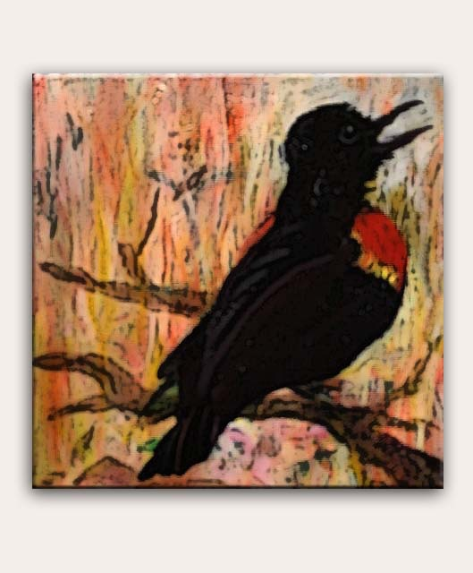 "Pledge $100 or more: ""Red Wing Blackbird"" by Erica Crofut 8""x8"" acrylic on canvas"