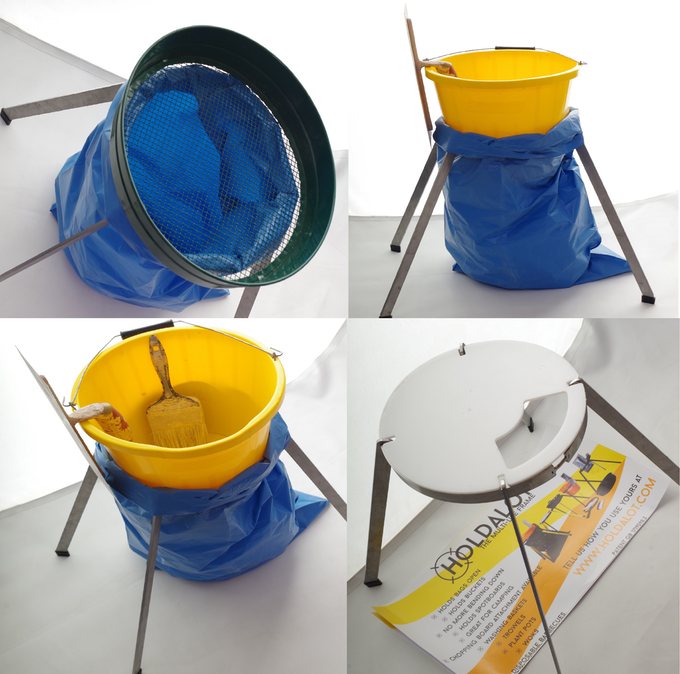 Holding plasterers splash bucket and splash brush and rubble sack at convenient height