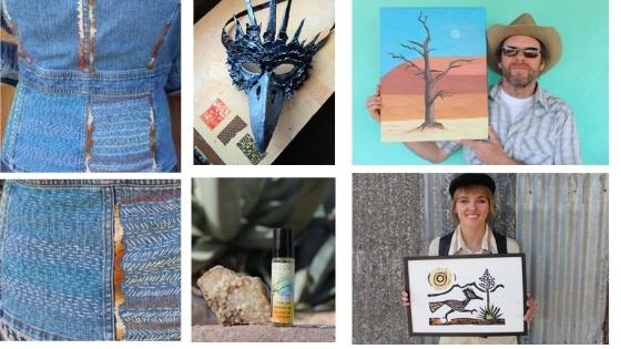 REWARDS: Folk Art Jean Jacket (M) , Raven Mask, Desert Landscape by Rob, Roadrunner by Naomi ,  Part of the Desert Homestead Basket