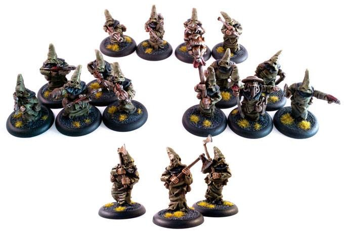 the cultist army, one standard bearer, one witch doctor and 15 cultists.