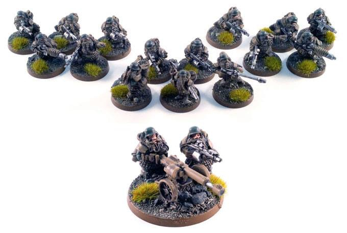 the legion warband an heavy weapons team and 15 troopers.