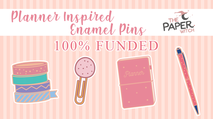 A set of rose gold enamel pins based around the Planner community - FUNDED!
