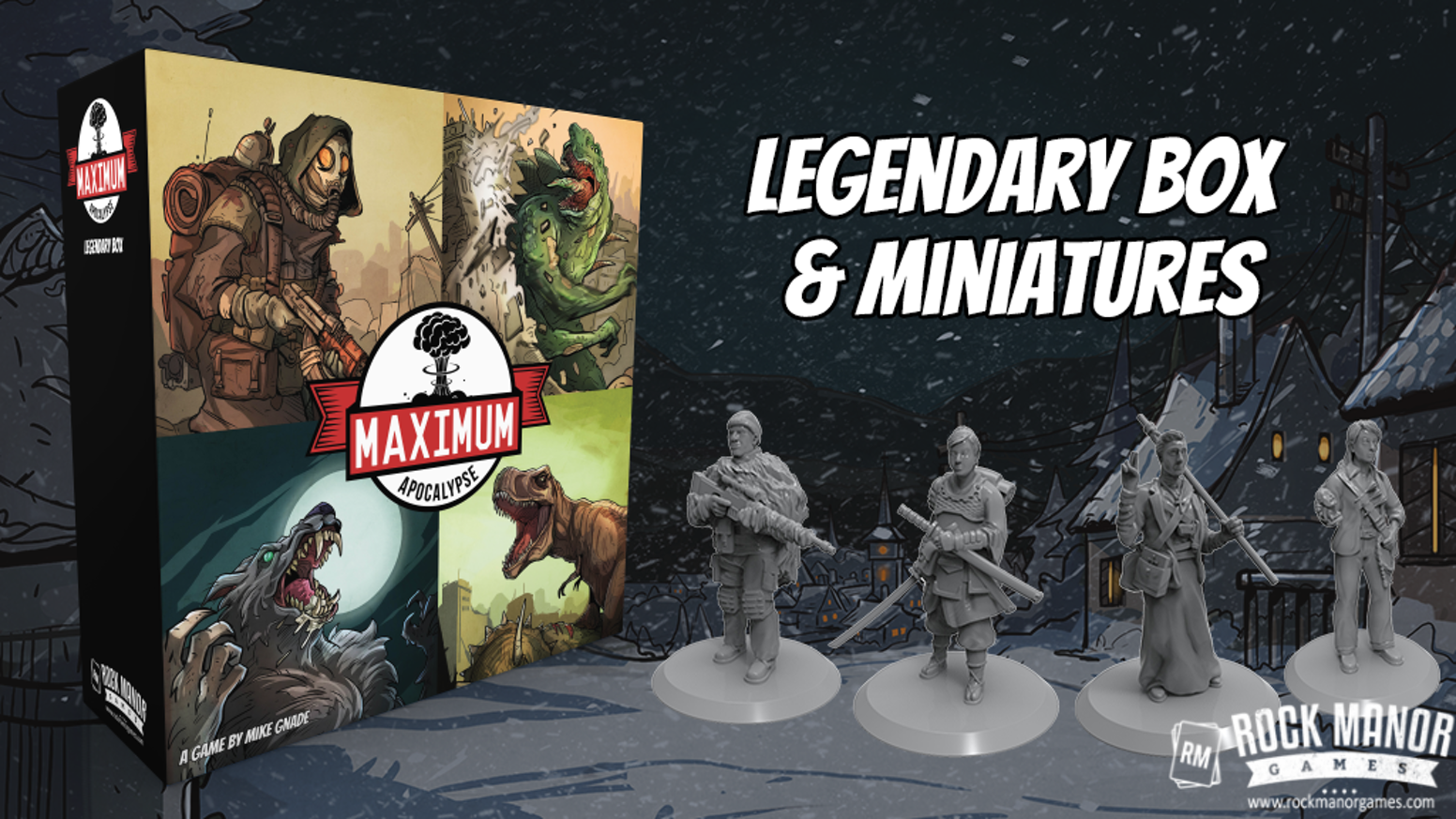 Maximum Apocalypse Legendary Box with Survivor Miniatures, storage tray solution, RPG quickstart guide and more!