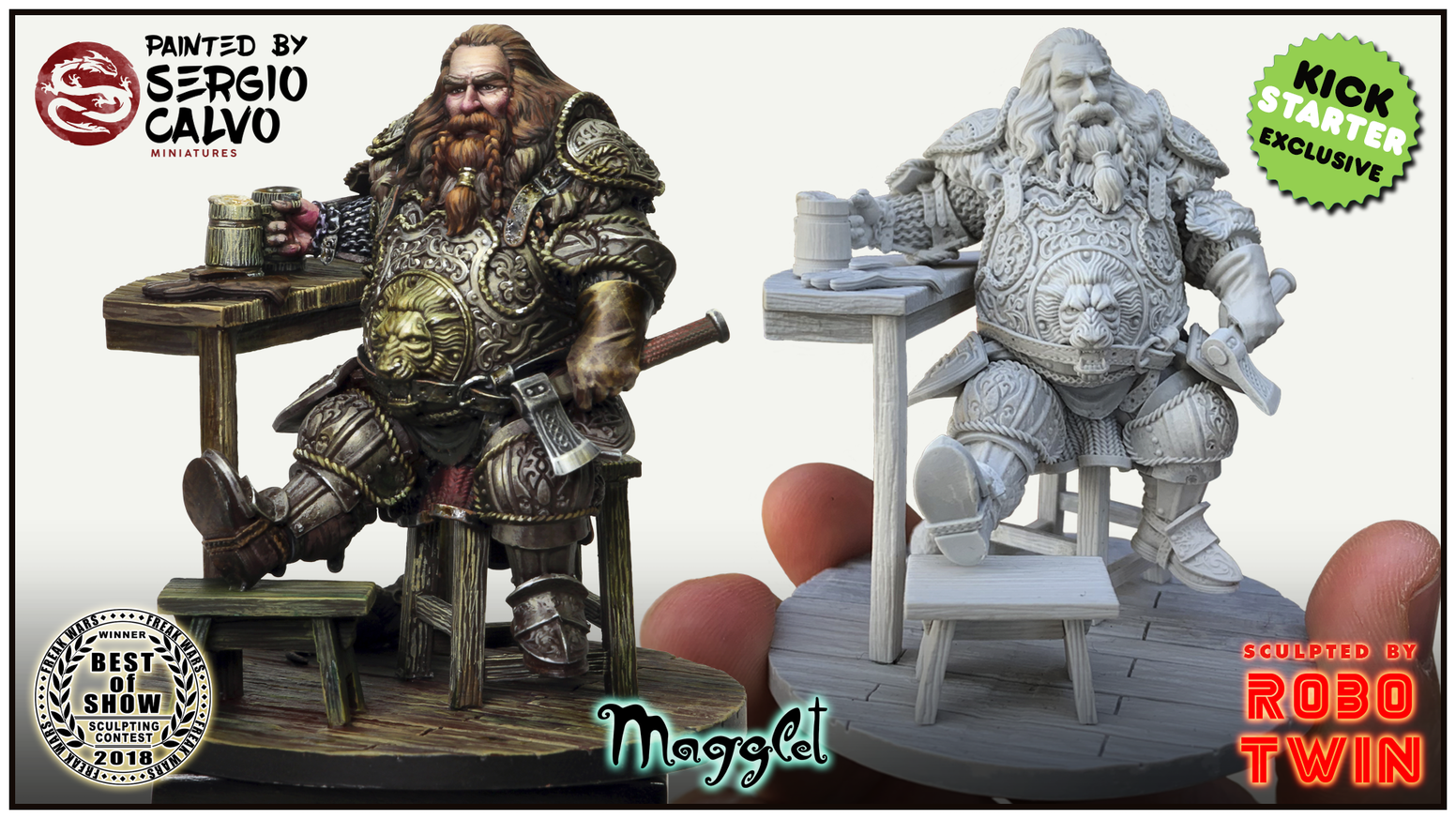Kickstarter exclusive project of a fantasy dwarf model (75mm scale).  A great opportunity for painters and collectors.