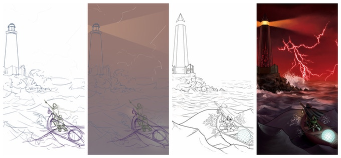 Progression of the cover art of Soul for the Ocean Dark