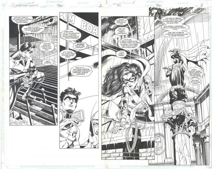 DETECTIVE COMICS #701, Pages 2+3 original art by Graham Nolan!
