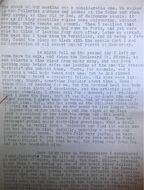 One of hundreds of typed pages which will add further detail to the French-Australian memoir. This diary entry recounts bumping into Albert Tucker in Paris, 1947