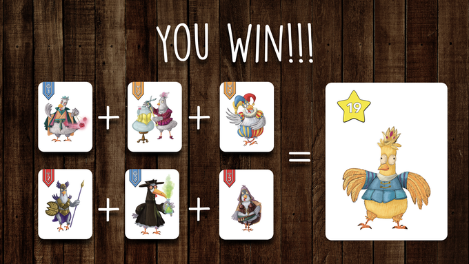 Need 6 chickens (2 rows, max 3) adding up to match your leader