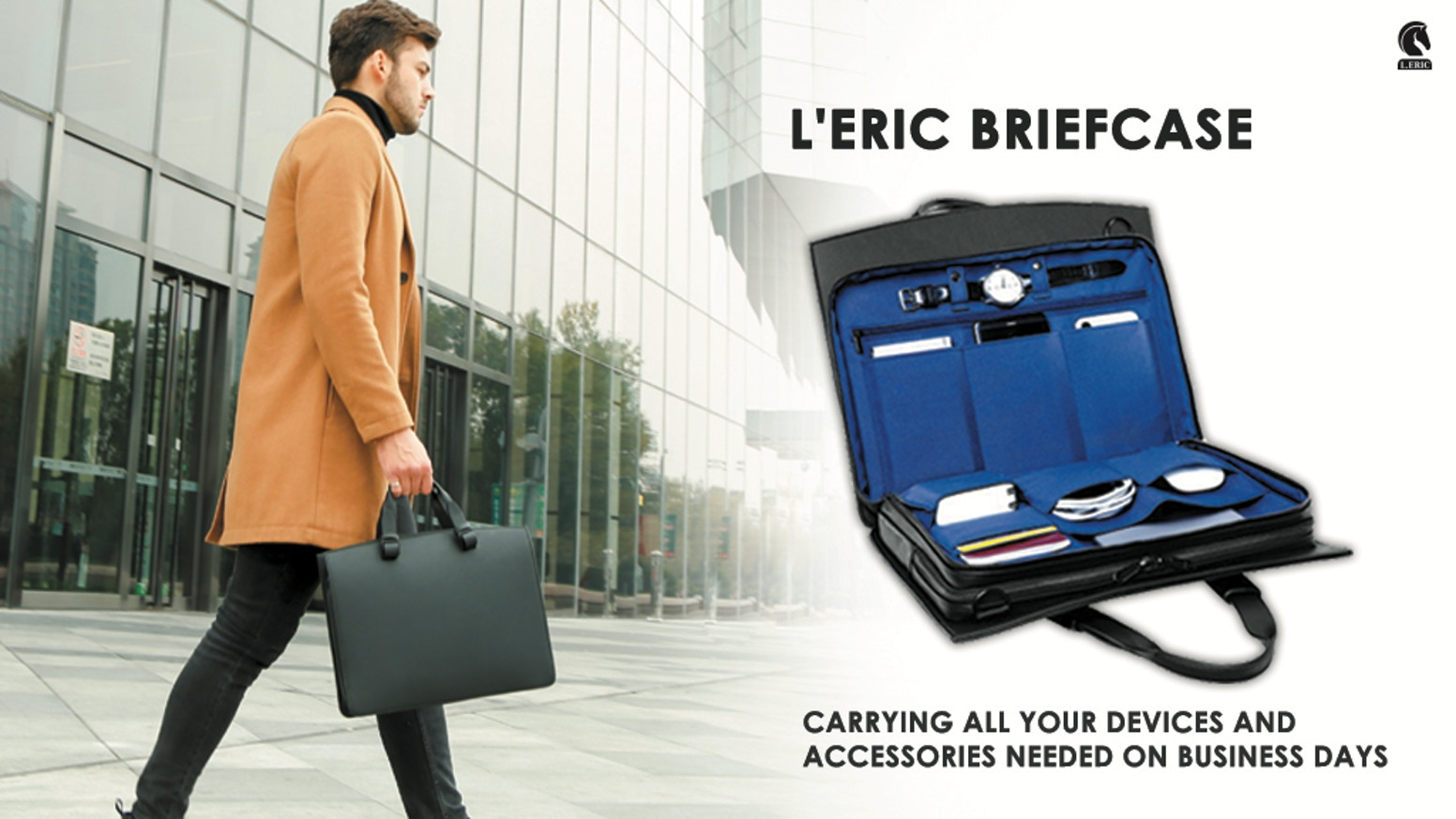 A briefcase carrying all your devices and accessories needed on business days.