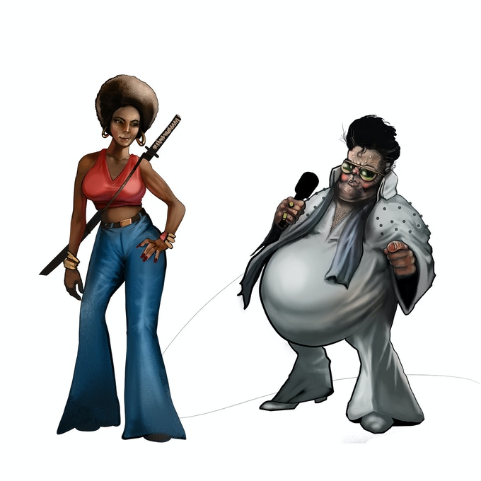 Bell Bottom Brigade assassin and an Elvis Impersonator by Mike Tenebrae