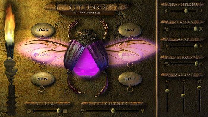 """Winged """"Settings Scarab"""" activated. Curious? You will have to play to discover it's purpose..."""