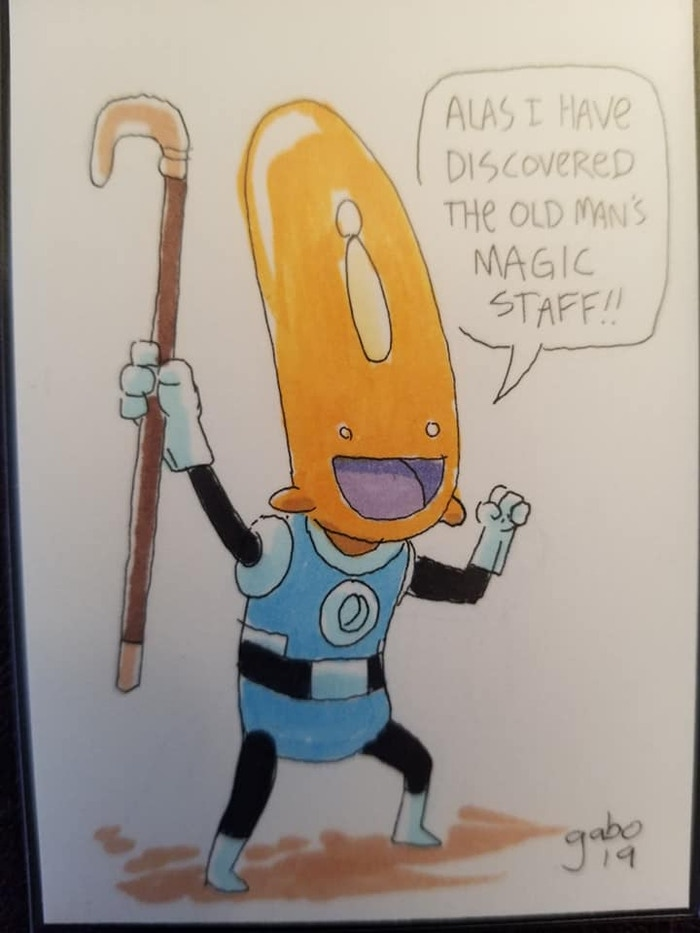 "Albert discovers a ""magic staff!"""