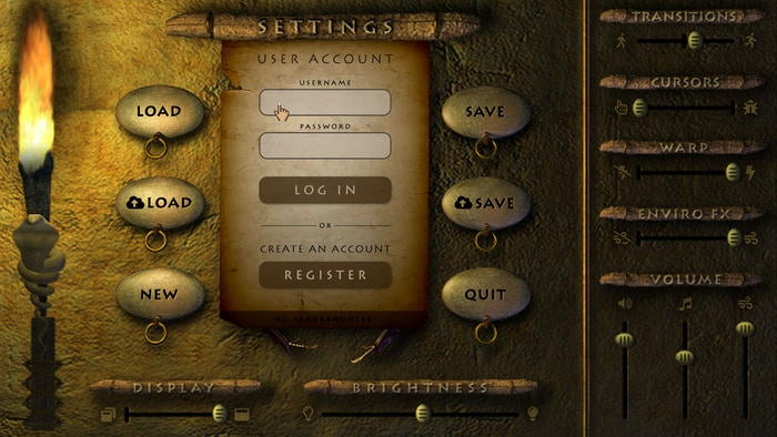 You can register, login, save, and load a game from desktop and mobile version of ROTS: Awakening. This screenshot shows the classic hand cursors.