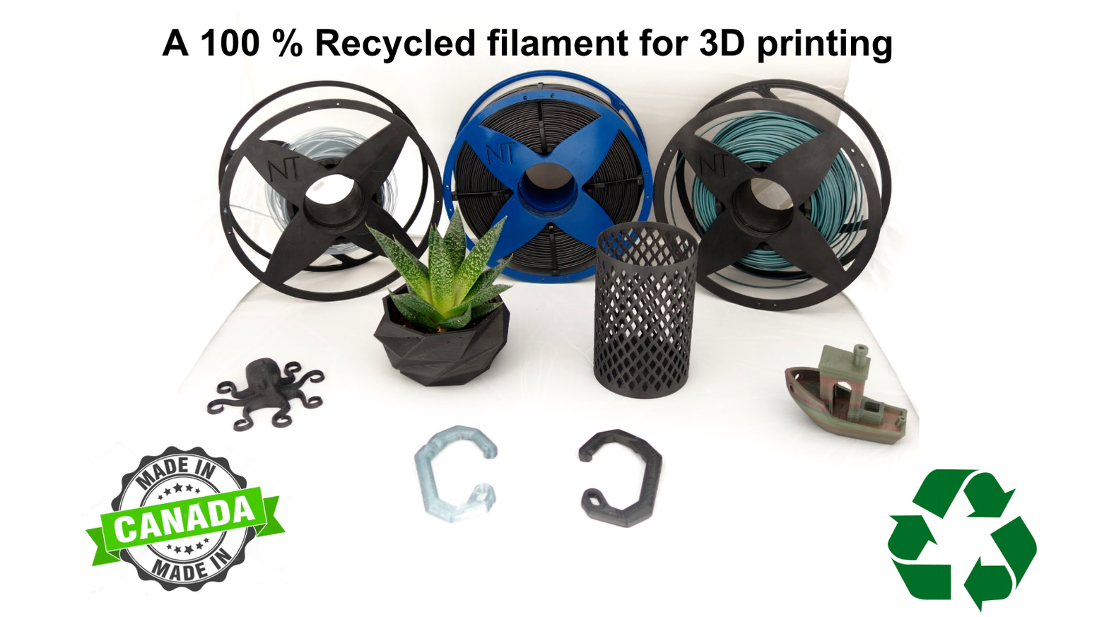 Filaments coming from recycled sources, offering good performances and easy to print .